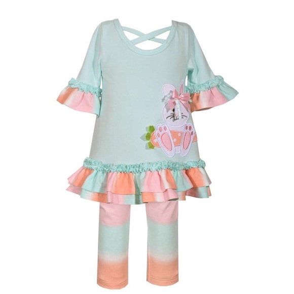 Bonnie Jean Girls Pink Hearts Valentine Party Tunic /& Leggings Set 2T 3T 4T New